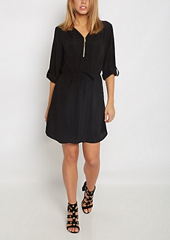 Black Zip Neck Shirt Dress