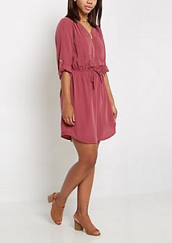 Plum Zip Neck Shirt Dress