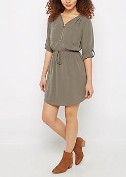 Olive Zip Neck Shirt Dress