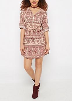 Boho Elephant Zip Neck Shirt Dress