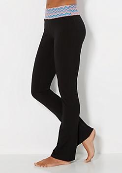 Peach Chevron Print Yoga Pant