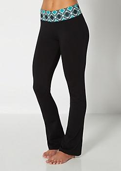 Blue Geo Print Yoga Pant