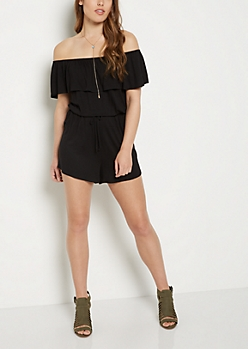 Black Ruffled Off Shoulder Romper