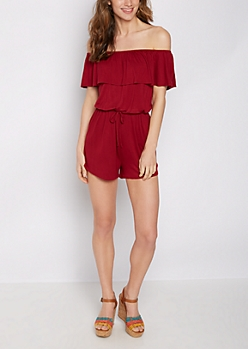 Burgundy Ruffled Off Shoulder Romper