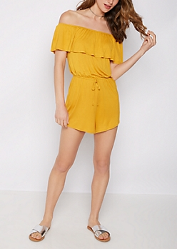 Mustard Ruffled Off Shoulder Romper