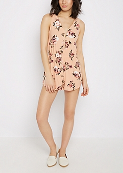 Floral Soft Knit Zip-Down Romper