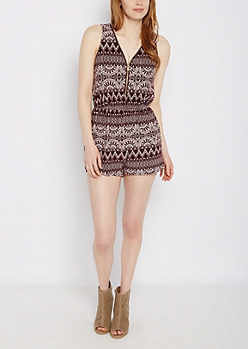 Aztec Soft Knit Zip-Down Romper