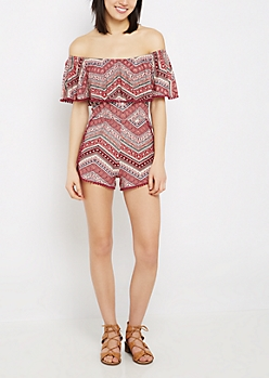 Boho Chevron Super Soft Off Shoulder Romper