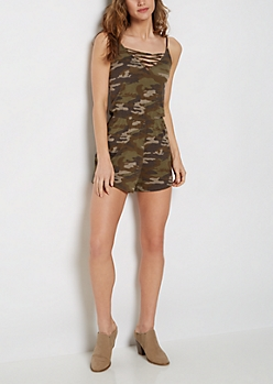 Camo Print Caged V-Neck Romper