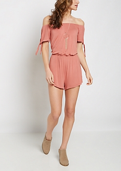 Pink Tie Sleeve Off-Shoulder Romper