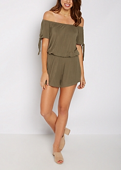 Olive Tie Sleeve Off-Shoulder Romper