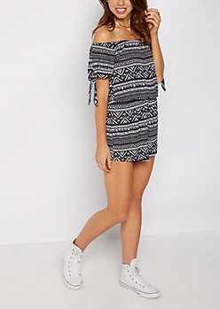 Geo Tribal Off-Shoulder Romper