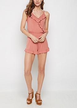Pink Ruffled Cami Romper