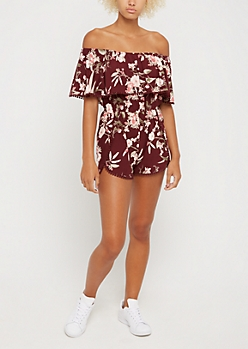 Blossoming Crochet Flounce Off Shoulder Romper
