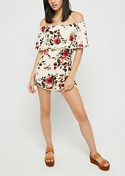 Rosy Crochet Flounce Off Shoulder Romper