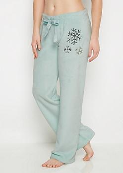 Mint Plush Snowflake Sleep Pant