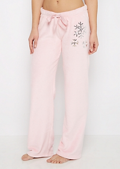 Pink Plush Snowflake Sleep Pant