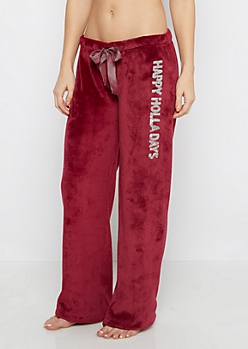 Burgundy Plush Happy Holidays Sleep Pant