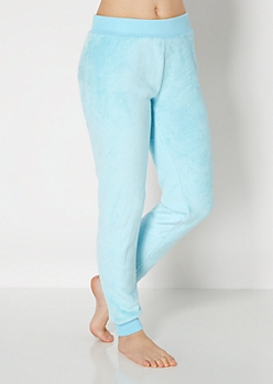 Pale Blue Plush Sleep Jogger