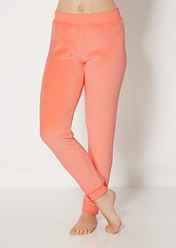 Neon Coral Plush Sleep Jogger
