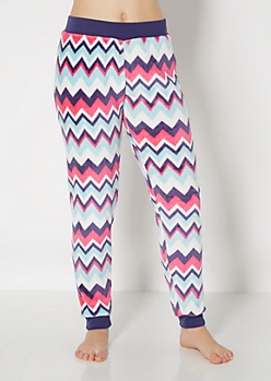Navy & Fuchsia Chevron Plush Sleep Jogger