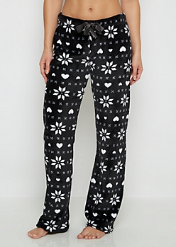 Black Snowflake Fair Isle Plush Sleep Pant