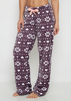 Purple Snowflake Fair Isle Plush Sleep Pant