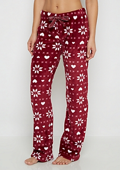 Burgundy Snowflake Fair Isle Plush Sleep Pant