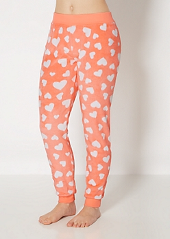 Navy Coral Hearts Plush Sleep Jogger