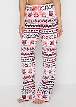 Owl Fair Isle Plush Sleep Pant