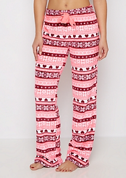 Fuchsia Fair Isle Hearts Plush Sleep Pant