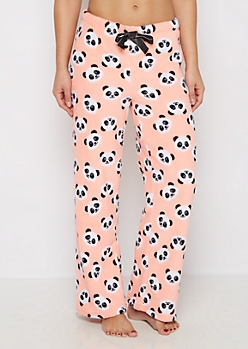 Coral Panda Plush Sleep Pant
