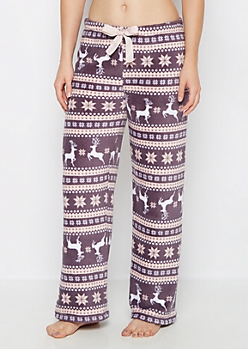 Reindeer Fair Isle Fleece Sleep Pant