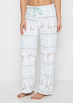 Mint Reindeer Fair Isle Plush Sleep Pant