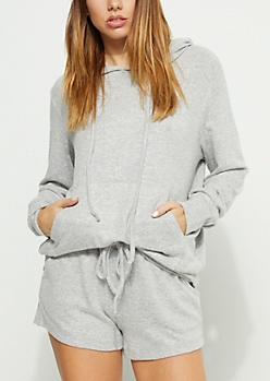 Gray Hacci Knit Hoodie