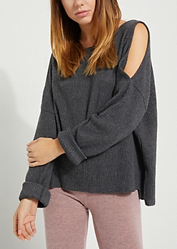 Charcoal Cozy Cold Shoulder Top