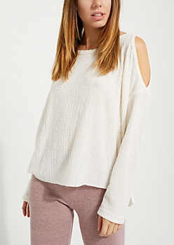 Ivory Cozy Cold Shoulder Top