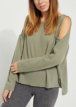 Olive Cozy Cold Shoulder Top