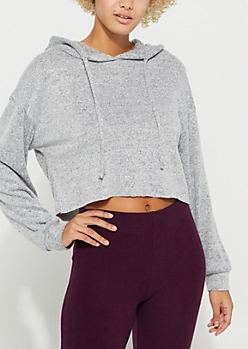 Heather Gray Hacci Crop Pullover Hoodie