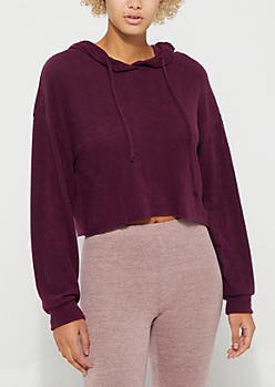 Purple Terry Knit Crop Hoodie