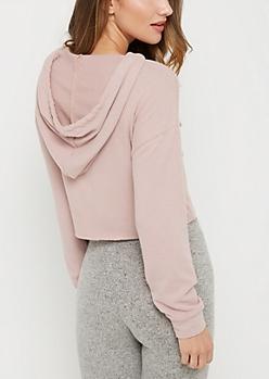 Pink Hacci Crop Pullover Hoodie