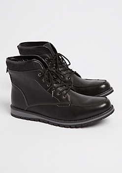 Black Moccasin Toe Boot