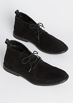 Black Faux Suede Chukka Boot