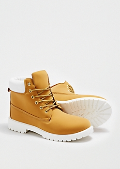 Tan Faux Leather Work Boot