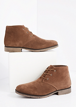 Brown Lace Up Mock Suede Chukka Boot