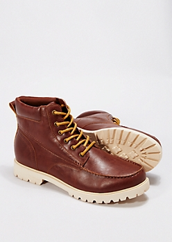 Brown Lug Sole Hiking Boots