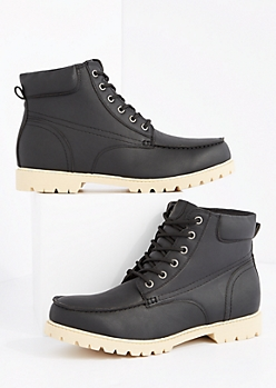 Black Vegan Leather Hiking Boot