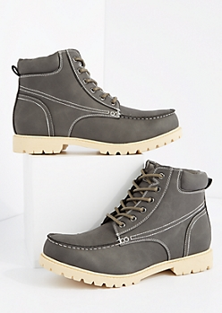 Gray Faux Leather Hiking Boot