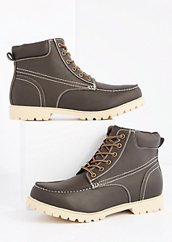 Dark Brown Faux Leather Hiking Boot