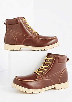 Burgundy Faux Leather Hiking Boot